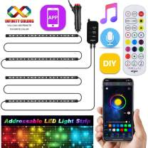 Dreamcolor Car Interior Lights with APP and Remote, Airgoo Car LED Strip Light, Two-Line Design Waterproof 4pcs 72 LED Car Underdash Lighting Kit, Color Changing with Music, 30 Unique Dynamic Mode