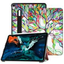 """Fintie SlimShell Case for iPad Pro 12.9"""" 3rd Gen 2018 [Supports 2nd Gen Pencil Charging Mode] - Lightweight Stand Cover with [Secure Pencil Holder] Auto Sleep/Wake, Love Tree"""