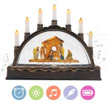 Eldnacele Nativity Scene Snow Globe Lantern Candle Arch with Music, Battery Operated & USB Lined Water Swirling Glitter Lighted Christmas Decorative Table Centerpiece, Nativity