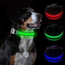 Tekkery LED Dog Collar Dog Collar Water Resistant Reflective Super Bright Flashing Nylon USB Rechargeable Safety Pet Collar with 3 Light Mode with 10 Hours Working Time for Small,Medium Or Large Dogs
