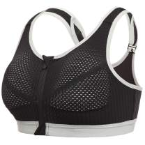 Zipper Front Sports Bras for Women Mid Impact Yoga Bra Breathable Mesh Workout Bras Daily Wearing