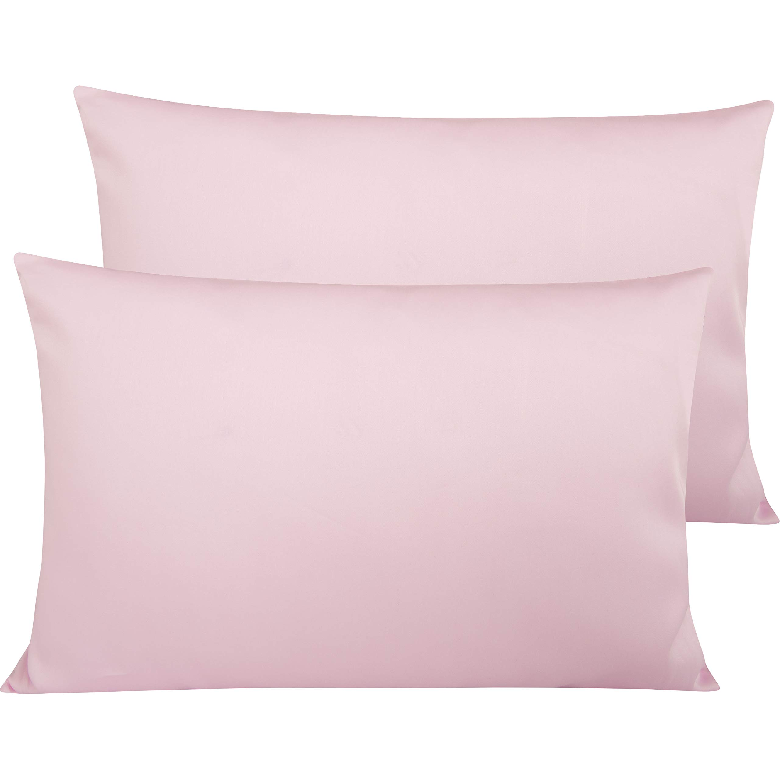 NTBAY 500 Thread Count Cotton Queen Pillowcases, Super Soft and Breathable Envelope Closure Pillow Cases, 20 x 30 Inches, Pink