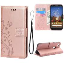 Teebo Wallet Case for Google Pixel 3A Kickstand Card Holder Embossed Butterfly Flower PU Leather Magnetic Flip Folio Women Cover for Google Pixel 3A (Rose Gold)
