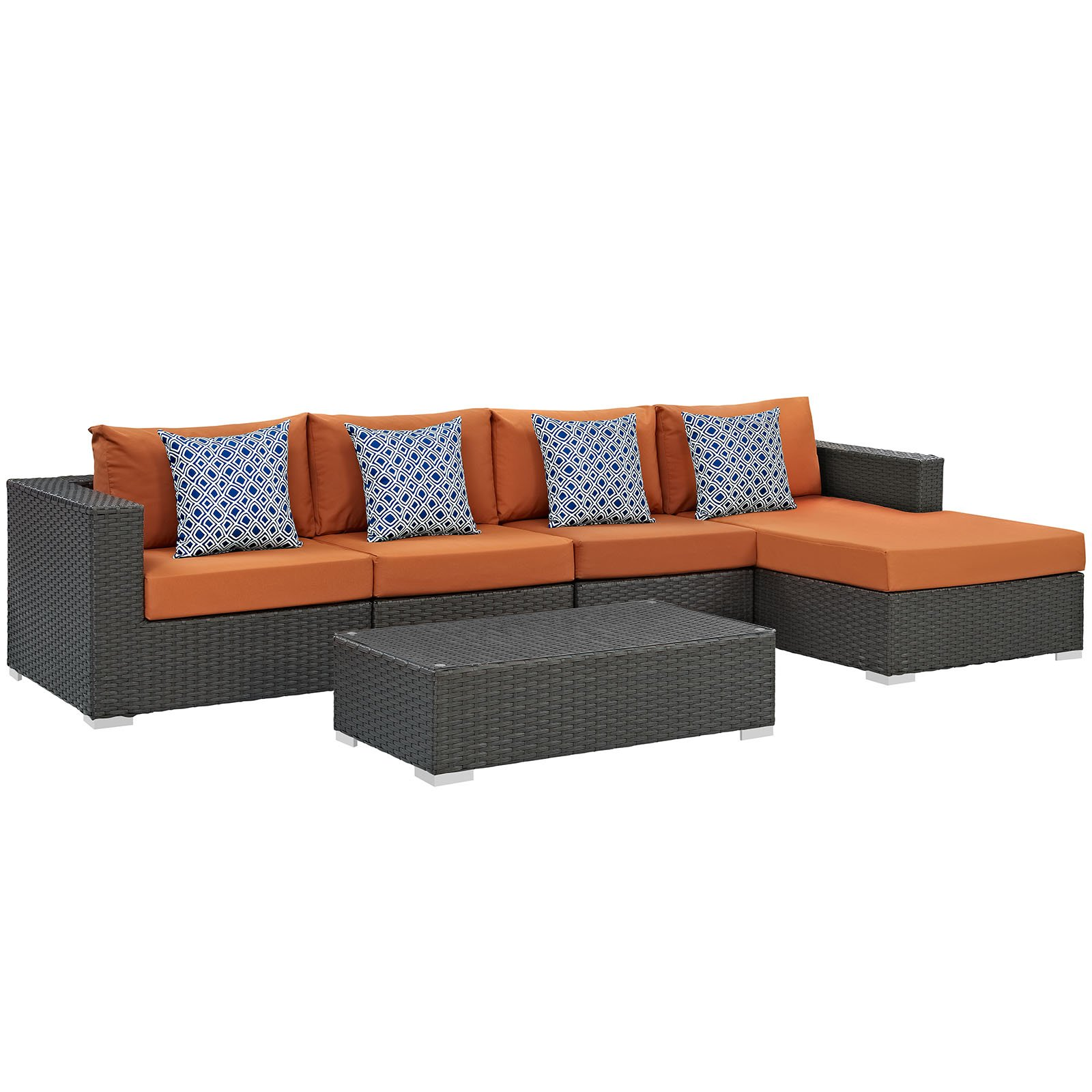 Modway EEI-2382-CHC-TUS-SET Sojourn Wicker Rattan Outdoor Patio Coffee Table, Seating for Five, Canvas Tuscan