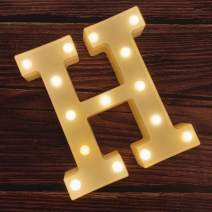 MUMUXI LED Marquee Letter Lights 26 Alphabet Light Up Marquee Number Letters Sign for Wedding Birthday Party Battery Powered Christmas Lamp Night Light Home Bar Decoration (H)