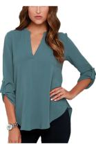 Easyhon Womens Plus Size V Collar Long Sleeved Loose fold Chiffon Blouse