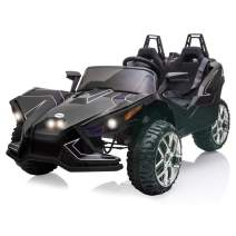 12V Kids Ride On Cars 2 Seats, Electric Vehicle for Kids with Manual/Parent Remote Control, LED Lights / Music / 2 Speed (Black)