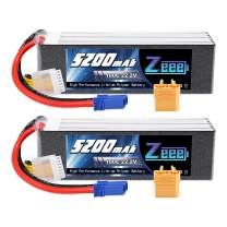 Zeee 22.2V 100C 5200mAh 6S Lipo Battery with EC5 and XT90 Connector RC Battery for RC Car Truck Airplane Helicopter Quadcopter Boat (2 Pack)