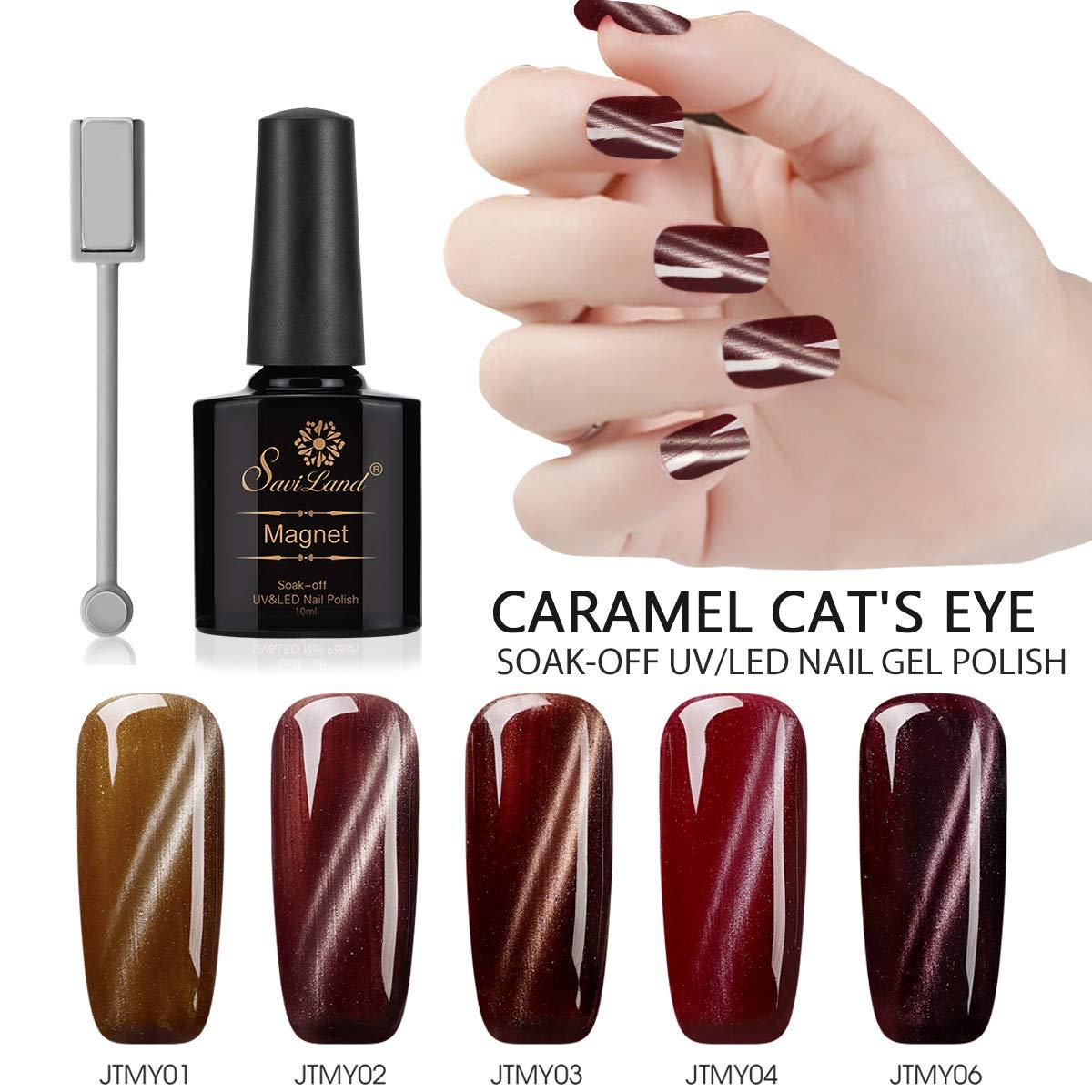 5pcs Caramel Color Cat Eye Gel Polish, Saviland Soak Off UV/LED Magnetic Nail Polish Set Nail Art Manicure Kit 10ml