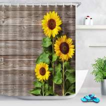LB Country Style Shower Curtain Bright Yellow Flowers with Green Leaves on Rustic Wood Board Sunflower Bathroom Decor Set with 12 Hooks,72x72 Inch Waterproof Fabric