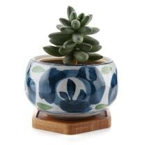 T4U Japanese Style 4.25 Inch Ceramic Bowl Shape Succulent Plant Pot with Bamboo Tray - Green Flower Pattern