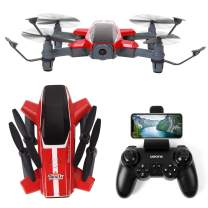 TongLi X11 Outdoor Folding FPV Quadcopter RC Drone with 1080P HD Camera for Adults and Teens Flow Positioning, Speed Control, Altitude Hold, Headless Mode, LED Light (Red)