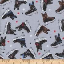 Mook Fabrics Mook Flannel Hockey Skates Fabric, 1, Grey, Fabric by the Yard