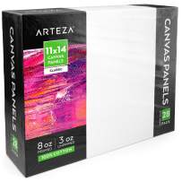 """Arteza 11x14"""" White Blank Canvas Panels Boards, Bulk Pack of 28, Primed, 100% Cotton for Acrylic Painting, Oil Paint & Wet Art Media, Canvases for Professional Artist, Hobby Painters & Beginners"""