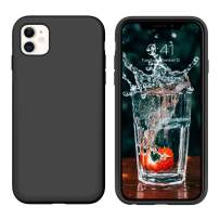 """iPhone 11 Case 2019,DUEDUE Liquid Silicone Soft Gel Rubber Slim Cover with Microfiber Cloth Lining Cushion Shockproof Full Body Protective Case for iPhone 11 6.1"""" 2019,Black"""