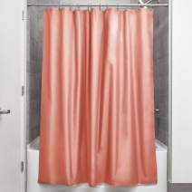 "iDesign Fabric Shower Curtain, Water-Repellent and Mold- and Mildew-Resistant Liner for Master, Guest, Kid's, College Dorm Bathroom, 72"" x 72"" - Coral Pink"