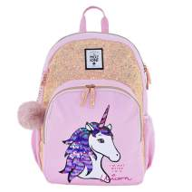 MOZIONI Lightweight Backpack, Pink Unicorn Collection Bag for Teen Boys Girls, School Daypack, Travel Pocket, College & Office, Classic Basic Casual Bag Limited Edition