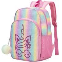 "Unicorn Backpack, 14.5""Little Girls Sequin Rainbow Preschool Bag"