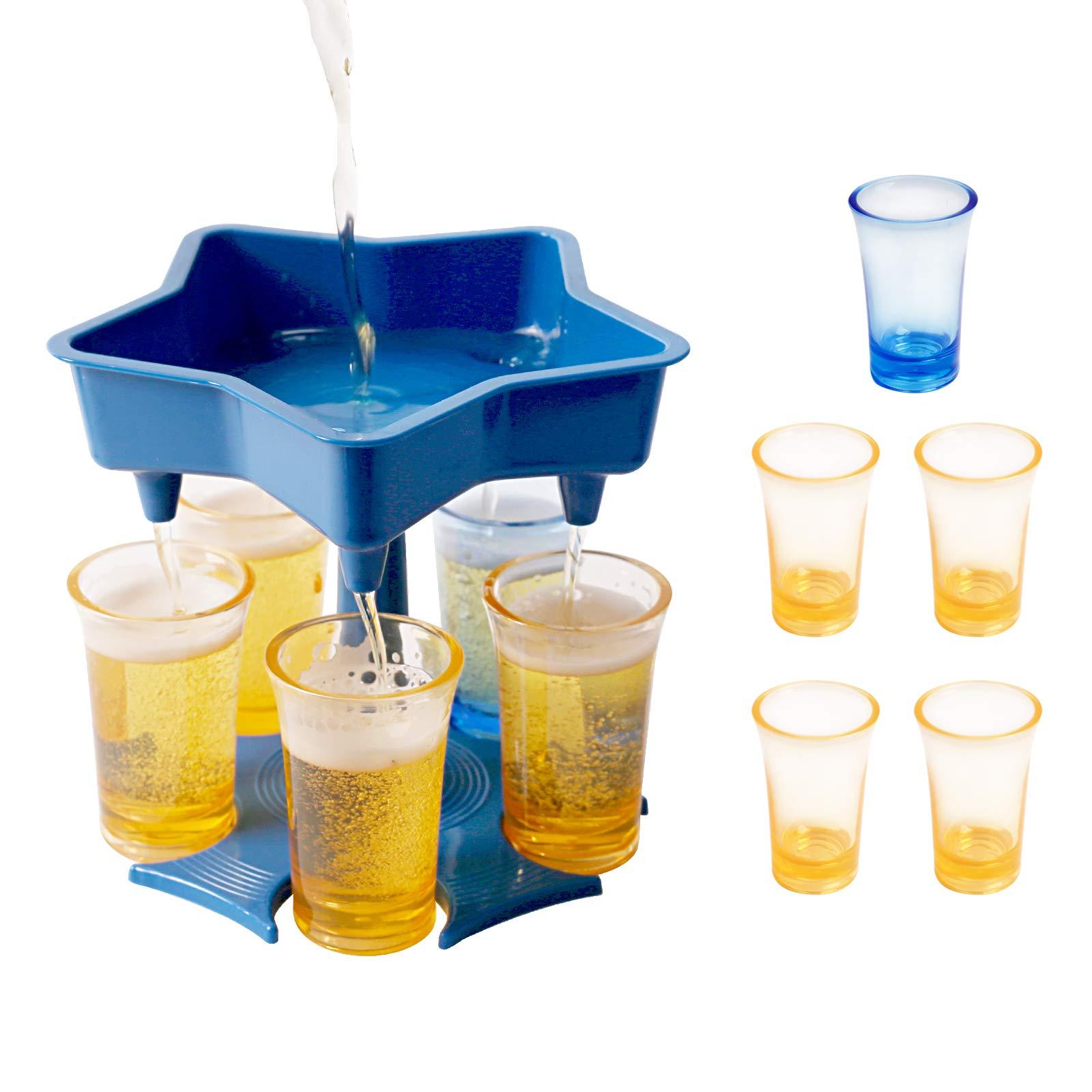 Shot Dispenser and Holder, Bar Shots Dispenser with Cups, Shot Buddy Dispenser for Filling Liquid/Drinks/Beverages, Liquor Dispenser Shot Pourer,Wine Cocktail Dispenser for Weekend Drinking Game Party