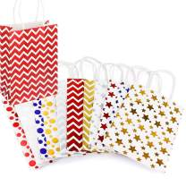 "11Pcs Gift Bags-Metallic Golden Sliver Foiled Star Polka Dot Stripe Pattern Gift Bag with Tissue Paper for Shopping,Parties,Wedding, Baby Shower, Craft-11 Pack-5.91"" X 3.15"" X 8.27"""