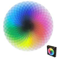 Puzzle 1000-Piece Jigsaw Puzzle Kids Adult, Colorful Rainbow Round Geometrical Photo Puzzle Adult Kids DIY Educational Reduce Stress Toy Jigsaw Puzzle Paper Spend Quality Time with Child and Family,