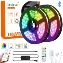 LED Strip Lights, Maravi 32.8ft/10M RGB Bluetooth LED Light Strip 5050SMD Color Changing LED Strip Lights with Remote, Sync to Music RGB Rope Light with Alexa & APP Controller for Home