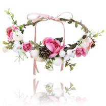 Flower Crown Headband Floral Headpiece-AWAYTR Women Girl Bohemia Adjustable Tree Rattan Leaf Flower Garland Hair Wreath Wedding (rose red+creamy white)