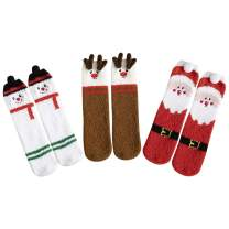 Women Plush Socks Xmas Holiday Winter Warm Fuzzy Crew Sock Colorful (3 Per Set, Xmas 3)