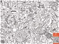 Eggnogg Colour-in Durable White Paper Poster Tablecloth 37-Inch by 50-Inch, Monsters and Ghosts, 1 Tablecloth