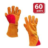 SAFE HANDLER Prime Welding Gloves with Kevlar Thread Protection   Reinforced Thumb and Palm, Heat Resistant for oven, MIG/TIG welding, Grill, Fireplace, BBQ, Animal Handling, 14 inch, Case of 60 Pairs