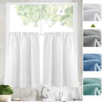 Zceconce Tier Curtains 36 inch Rod Pocket for Kitchen Casual Weave Textured Cafe Curtain Semi Sheer Short Curtain for Bathroom Half Window,Thick, 2 Panels, W72xL24|Set,White