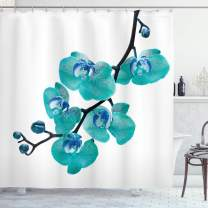 "Lunarable Aqua Shower Curtain, Blossoming Orchid Foliage Arrangement Spring Season Inspired Tropical Plant Theme, Cloth Fabric Bathroom Decor Set with Hooks, 75"" Long, Black Blue"