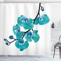 "Lunarable Aqua Shower Curtain, Blossoming Orchid Foliage Arrangement Spring Season Inspired Tropical Plant Theme, Cloth Fabric Bathroom Decor Set with Hooks, 75"" Long, Black Blue"