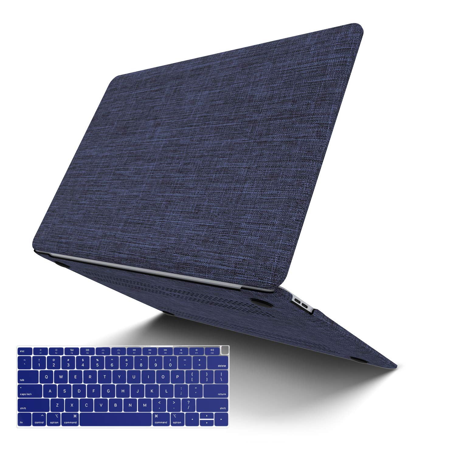 MacBook Air 13 Inch Case 2020 2019 2018 Release A2179 A1932, JGOO Soft Touch Shell Cover(Fabric), Hard Shell Case Compatible MacBook Air 13 Inch & Retina Display Fits Touch ID, Blue