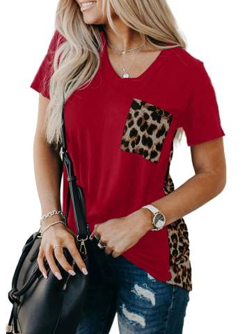 Aleumdr Womens Short Sleeve Crew Neck T Shirts Color Block Tops with Pocket S-XXL