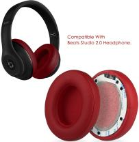 GPCT [Protein Leather Replacement Ear Pads] for Beats Studio 2.0 Headset. Easy Installation, Memory Foam Ear Cups Cushion Cover, Lightweight Ear Caps for Wired/Wireless Headphone [2 Pieces] [RED]