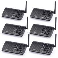 Hosmart Portable Wireless Intercom System,1/2Mile 6-Channel Security Wireless Intercom System for Home or Office [6 Stations Black] (Battery is not Included)