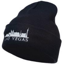 Las Vegas Skyline Embroidered Long Beanie.