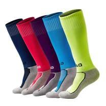5 Pairs Kids Soccer Socks Boys Girls High Tube Long Knee Athletic Football Socks (4-13 Years) color mess