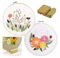 2 Sets Embroidery Kits, Full Range of Embroidery Starter Kit with Pattern DIY Stitch Kit for Beginner Including Cloth, Hoop, Threads, Tools Kit