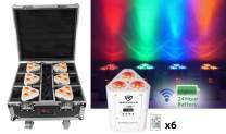 Rockville ((6) Battery Wireless Par Lights+Charging Case (ROCKWEDGE PACKAGE WHITE)