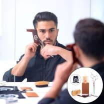 Beard Grooming & Trimming Kit (4-Pc. Set) Beech Wood Brush w/Boar Bristles, Pearwood Comb, Stainless-Steel Scissors, Shaper Template | Mustache, Facial Hair