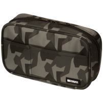 LIHIT LAB Zipper Pen Case, 7.9 × 2 × 4.7 inches, Green Camo (A7551-131)