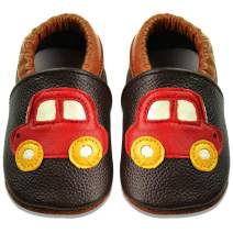 JACKSHIBO Toddler Leather Walking Slippers Infant Home Crib Shoes Newborn Baby Soft Shoes Boys Girls Moccasins First Walk Slippers