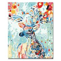 LIUDAO Paint by Number Kit Colorful Deer DIY Oil Painting for Kids and Adults Beginner Gift-Painted (16x20 inch,Frameless)