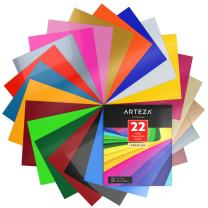 ARTEZA Heat Transfer Vinyl Sheets, 22 Multi-Color Iron On Transfer HTV Sheets, 10x12 Inches, Flexible & Easy to Weed, Use with Any Craft Cutting Machine, Boxed