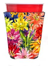 Caroline's Treasures 6069RSC Flower - Gerber Daisies Red Solo Cup Beverage Insulator Hugger, Red Solo Cup, multicolor