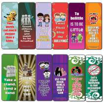 Creanoso Anti-Bullying Slogans Bookmarks for Kids (12-Pack) – Inspirational Sayings Reading Bookmarker Cards - Stocking Stuffers Gift for Kids, Boys & Girls – Teacher Classroom Rewards School Supplies