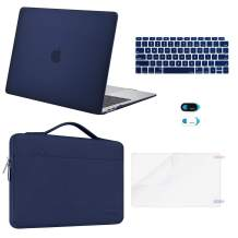 MOSISO MacBook Air 13 inch Case 2020 2019 2018 Release A2179 A1932, Plastic Hard Shell&Sleeve Bag&Keyboard Cover&Webcam Cover&Screen Protector Compatible with MacBook Air 13 inch Retina, Navy Blue