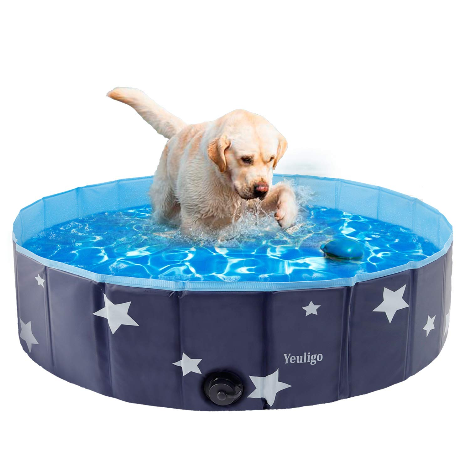Yeuligo Dog Pool, Foldable Bathing Tub Kiddie Pool, Portable and Stable Swimming Pool for Dogs Cats Pets, Suitable for Summer Outdoor Garden Patio Bathroom